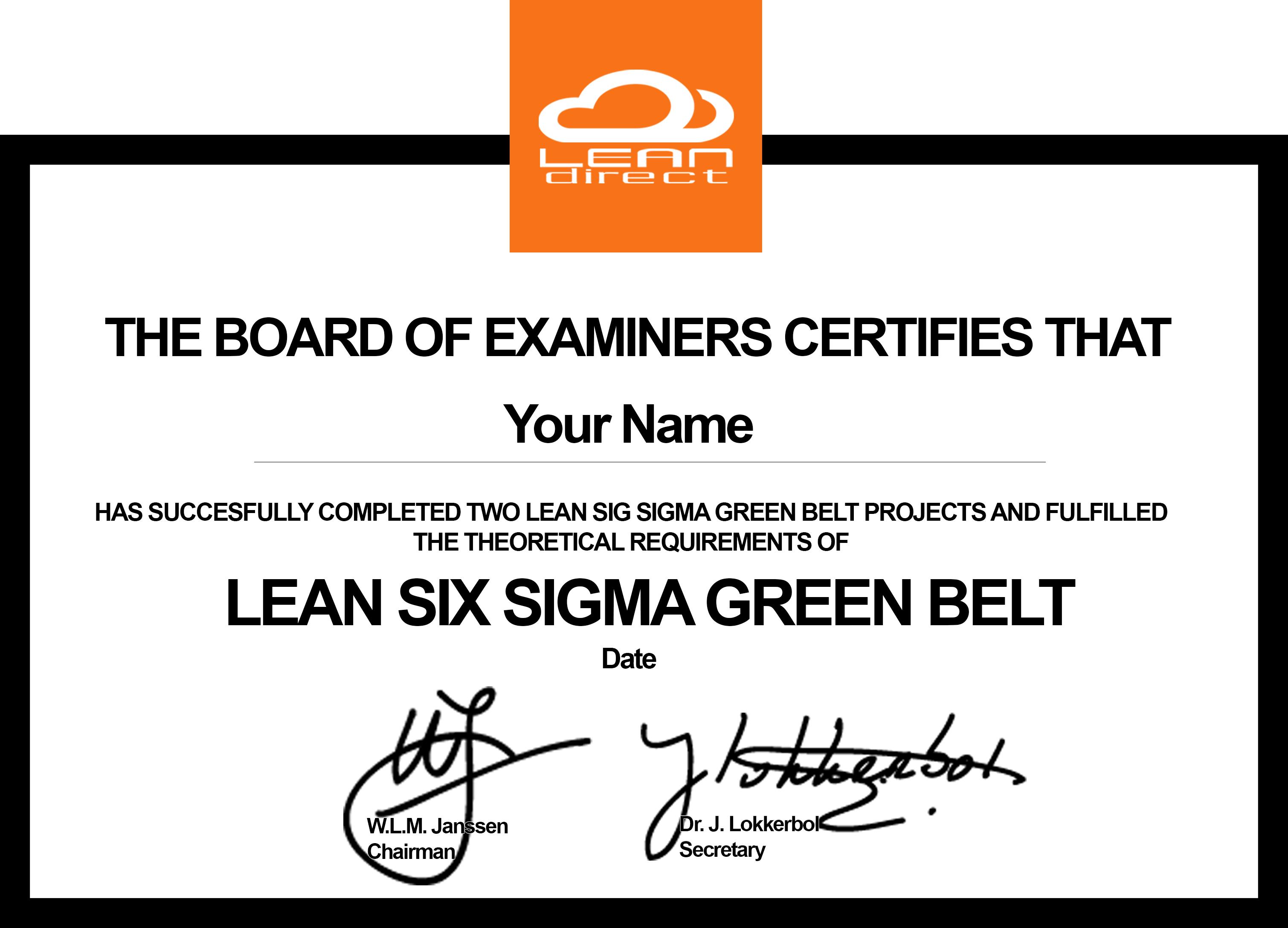 certificaat-green-belt